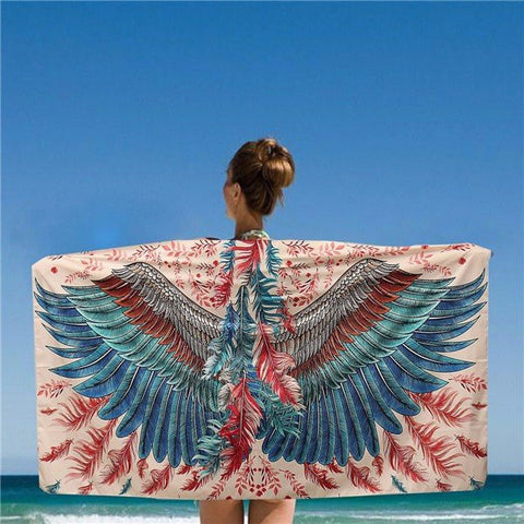 150*80CM Women Blue And Red Eagle Phoenix Wings Printed Scarves Beach Shawls Mats - shechoic.com