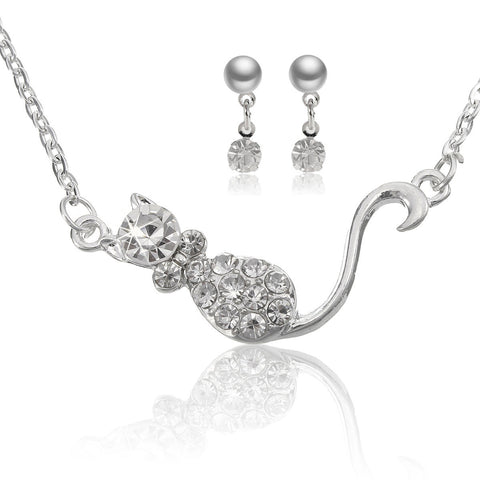 Cat Crystal Necklace Earrings Jewelry Set