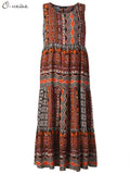 Loose Women Folk Style Pattern Printed Bohemian Maxi Dress