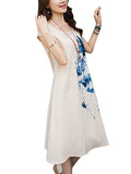 Elegant Women Ink Painting Cotton Linen Dress
