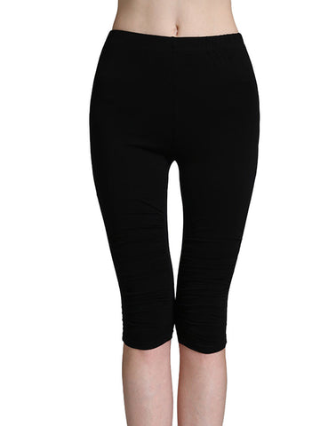 Casual Women Solid Elastic Waist Modal Cotton Seventh Pants