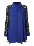Women Long Sleeve Lapel Button Lace Patchwork Chiffon Blouse