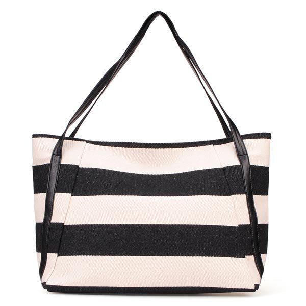 Casual Retro Striped Canvas Shoulder Bag
