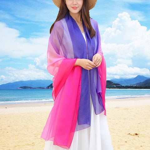 190*145CM Women Colour Matching Chiffon Scarf Gradients Color Sunscreen Beach Towel Shawl