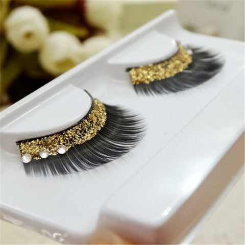 1 Pair Gold Sequins Crystal Thick False Eyelashes Individual Charm Beauty Long Lashes