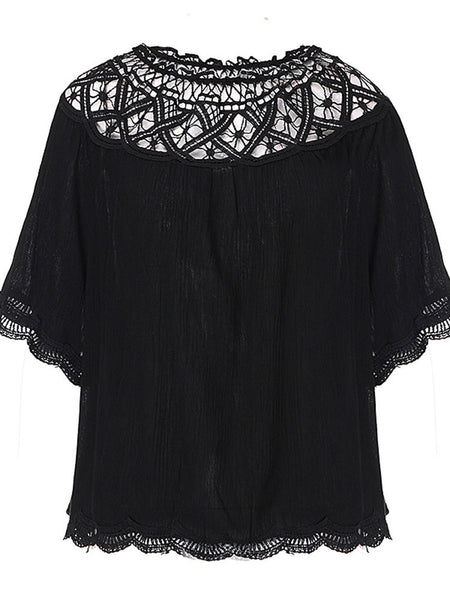 Sexy Women Lace Patchwork Hollow Out Off Shoulder Chiffon Tops