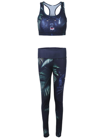 Women 3D Tiger Printed Slim Fitness Yoga Sport Tracksuit