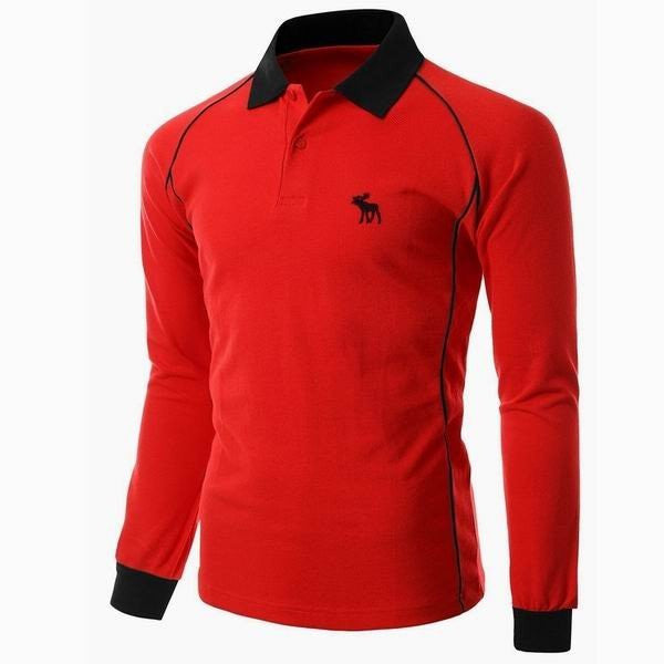 Men's Casual Long-sleeved Polo Shirts Deer Embroidery Sportswear