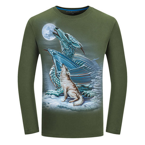 Casual 3D Animal Pattern Printing Cotton O-Neck Long Sleeve Plus Size T-Shirt For Men
