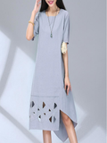 Vintage Women Short Sleeve Hollow Out Printed Solid Linen Dress