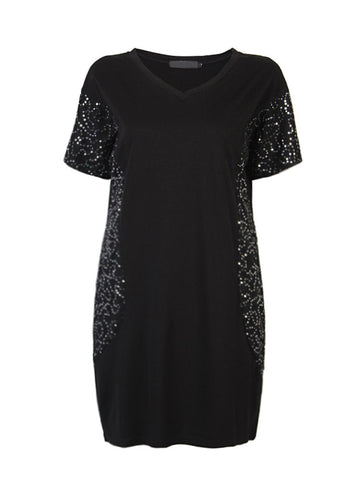 Sexy Sequins Stitching Short Sleeve V-Neck Mini Dress For Women