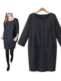 Solid Color Pockets Thicken Warm Loose Casual Dress