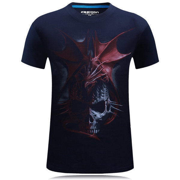 Dragon Skeleton 3D Animal Printing Tops Casual Personality Plus Size Short Tees For Men