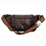 Men Multi-pocket Vintage Genuine Leather Casual Retro Waist Bag