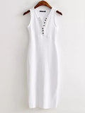 Women Casual Single Breasted V-neck Slit Hem Sleeveless Slim Mid-long Dress