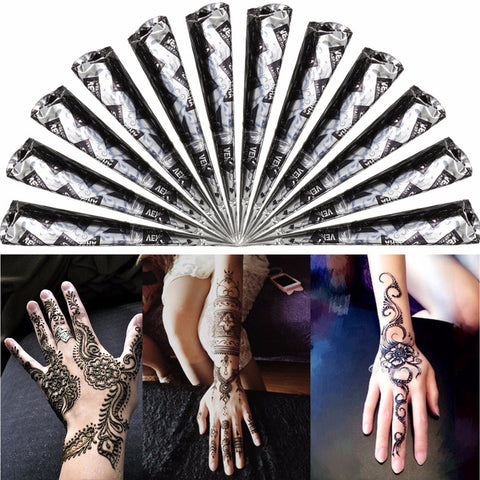 1Pcs Natural Herbal Black Henna Paste Cone Temporary Tattoos Body Art