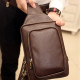 Men PU Business Casual Small Retro Black Coffee Chest Shoulder Crossbody Bag