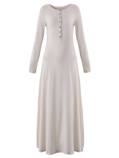 Elegant Women Long Sleeve Button Pure Color Long Maxi Dress