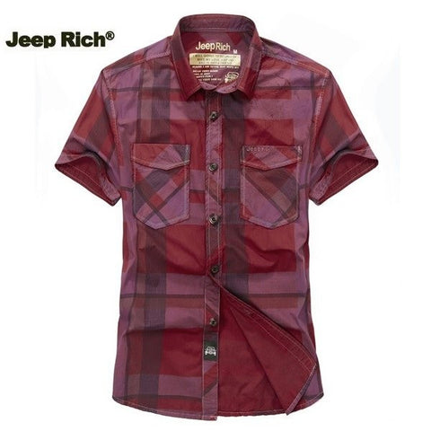 Jeep Rich Plaid Cotton Casual Plus Size Mens Short Sleeve Summer T-shirt