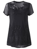 Casual Embroidery Lace Patchwork Hollow Out T-Shirt For Women