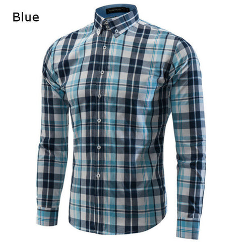 Casual Fashion Slim Fit Long Sleeve Plaid Dress Shirts For Men