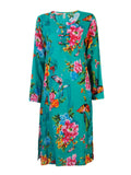 Vintage Flower Printed Pocket Long Sleeve Dress For Women