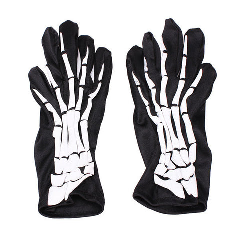 Halloween Full Skeleton Finger Ghost Demon Elastic Skull Gloves