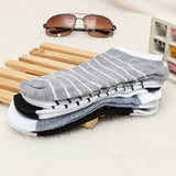 Men's Breathable Soft Cotton Sports Short Striped Socks Ankle Calf Boat Socks
