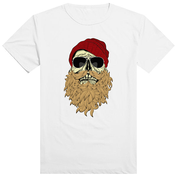 Mens Innovative Full Beard Skull Punk Printing Top Tees Casual Short Sleeve T-shirts