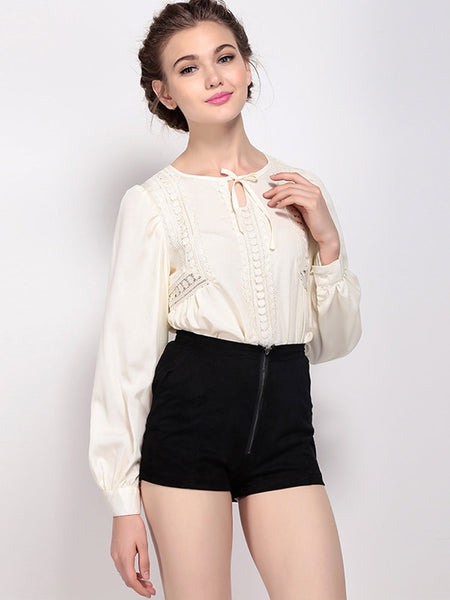 Bohemian Long Sleeve Pure Color Lace Up Blouse For Women - shechoic.com