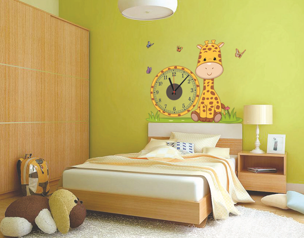 DIY Creative Giraffe Wall Clock Wall Stickers Butterfly PVC Removable Wall Art Home Decor