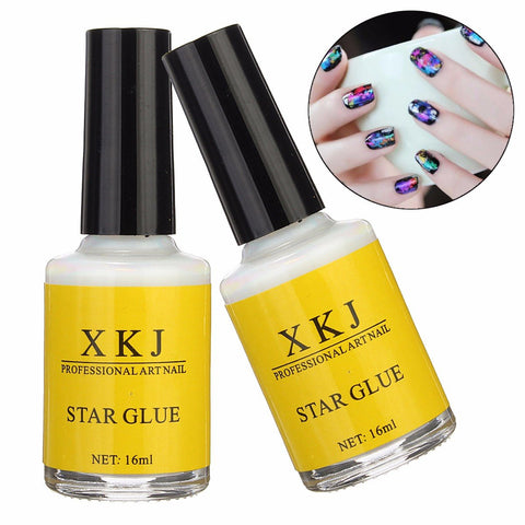 White Nail Art Glue Transfer Tips Adhesive Galaxy Star Foil Sticker 16ml