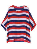 Women Batwing Sleeve Stripe Contrast Color T-Shirt Loose T-shirt