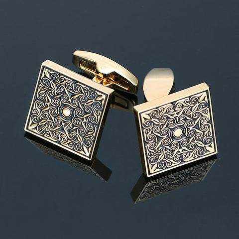 Men Metal Square Vintage Cufflinks Royal Engraving Wedding Party Gift Shirt Accessories