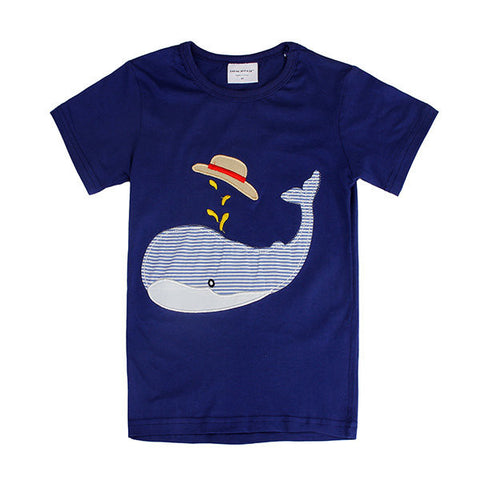 Dolphin Baby Children Boy Pure Cotton Short Sleeve T-shirt Top