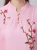 Elegant Women 3/4 Sleeve Flower Embroidery Button Linen Maxi Dress