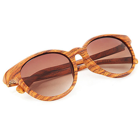 Dazzle Colour Reflective Wood Grain Sunglasses Unisex Fashion Glasses