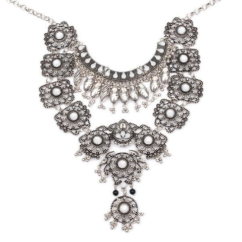 Vintage Silver Long Boho Bib Turkish Necklace