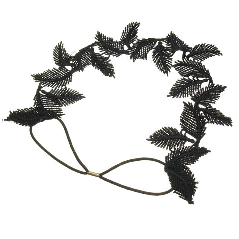 Black White Hollow Lace Leaf Headband Vintage Elastic Hair Band