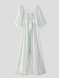 Women Backless Half Sleeve White Chiffon Maxi Dress