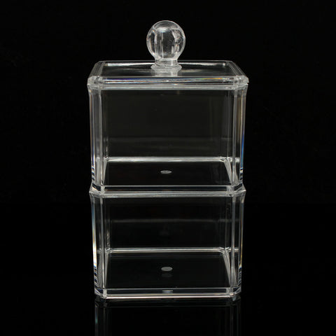 2 Tiers Acrylic Clear Cosmetic Storage Organizer Nail Polish Display Case