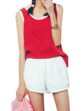 Women Sleeveless O Neck Pure Color Casual Tank Top