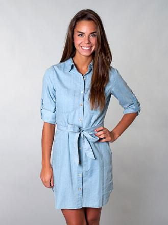 Long-Sleeved Light Denim Jean Dress with jean belt