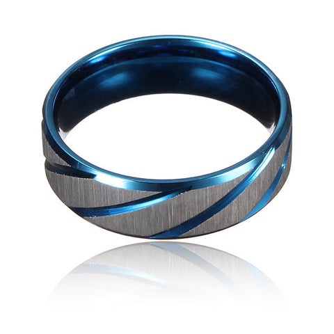 Blue Silver Brushed Section Titanium Steel Finger Ring