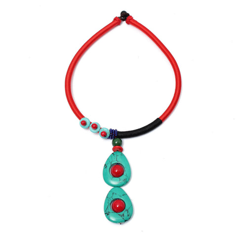 Water Drop Turquoise Choker Pendant Necklace