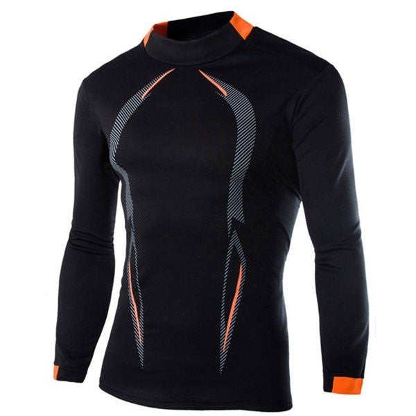 Men's GYM Quick-drying Sportwear Body-building Tee Tights Polyester Casual Long Sleeve T-Shirts