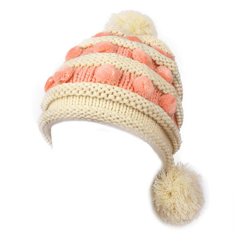 Crochet Knitted Big Ball Earmuff Beanie Cap Earflap Thermal Skiing Hat