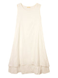 Women Sleeveless O Neck Drawstring Pure Color A-line Vintage Dress