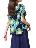 Women Sunflower Printing Split Hem Cotton Linen T-shirt