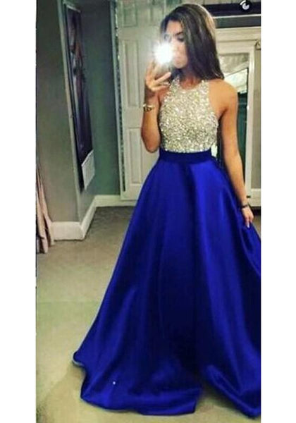 Blue Patchwork Backless Sequin Halter Neck Sleeveless Elegant Wedding Gowns Maxi Dress